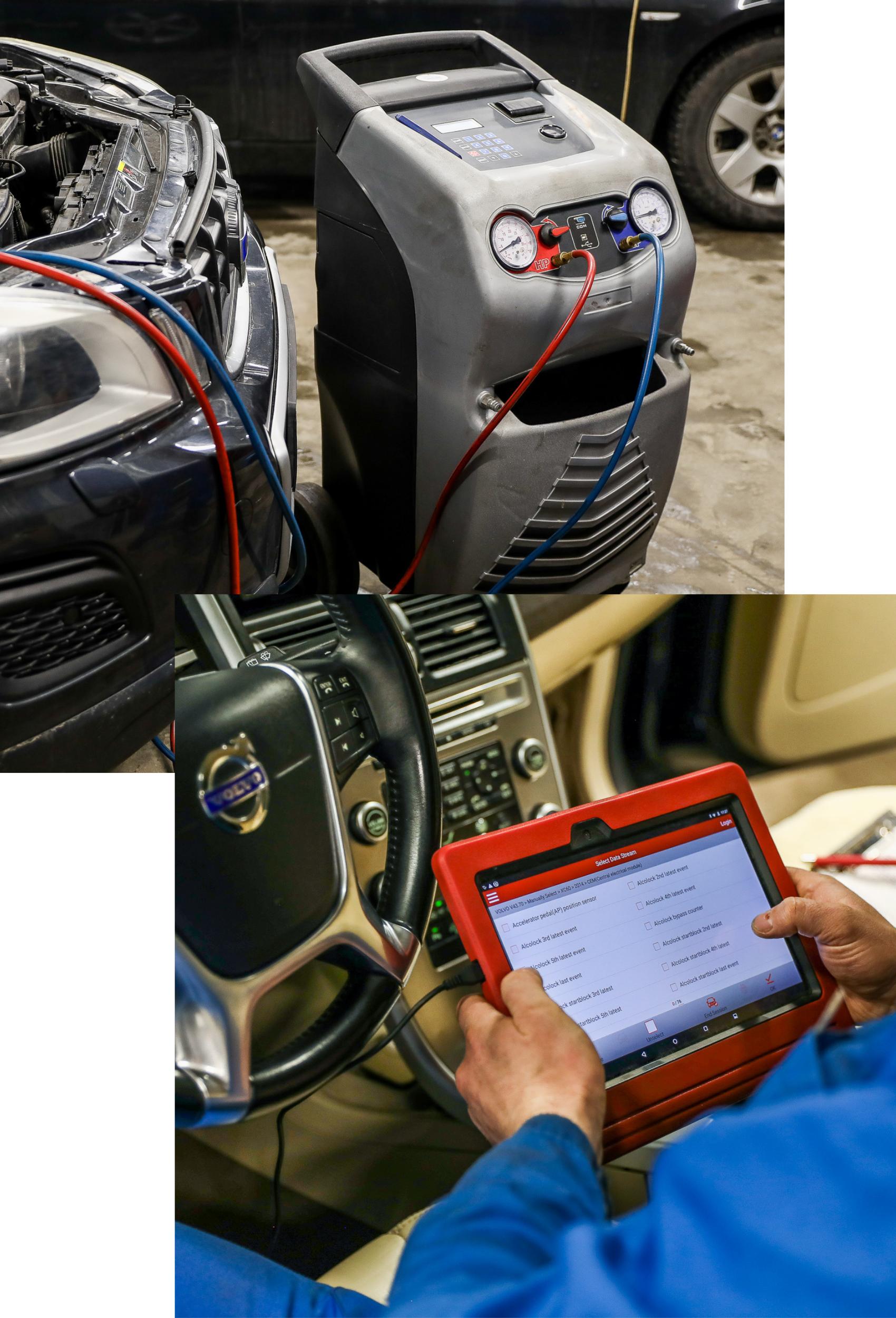 autoelektrikų paslaugos, dvi nuotraukos su įranga. Kondicionierių pildymo aparatas vienoje ir autolektrikas su planšete diagnotikai kitoje