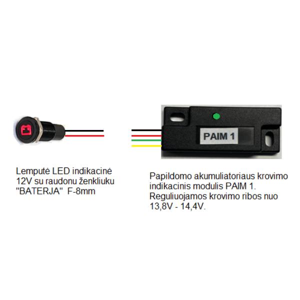 Papildomo akumuliatoriaus krovimo indikacinis modulis PAIM 1